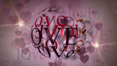 Love hearts and Globe Word Cloud Background Stock Footage