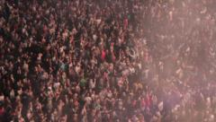 Jumping crowd - Hands in the air - Laser Shows - Birdseye view - Festival - EDM - stock footage
