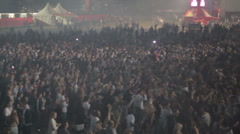 Insane crowd - Laser Shows - Side View - Festival - Slowmotion Stock Footage