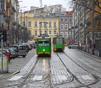 Stock Photo of Vintage tram on a street of Poznan