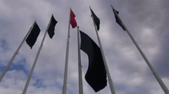 Black flags in Iran indicate the Muharram period is going on - stock footage
