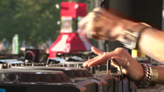 DJ - Close up of hands - Pioneer DJM Mixer & CDJ 2000 - Sunny at a festival - Stock Footage
