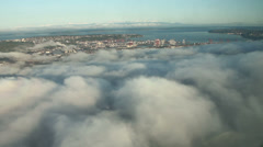 Low Clouds and Fog over Urban Area Aerial View Stock Footage