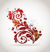Floral ornamental colorful design elements Stock Illustration