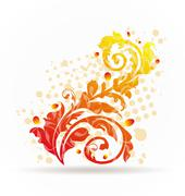 autumnal ornamental colorful design elements - stock illustration