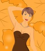smiling girl on autumn background - stock illustration