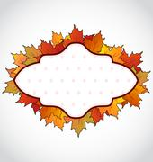 Autumnal card with colorful maple leaves Stock Illustration