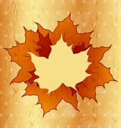 Autumnal maple leaves, wooden texture Stock Illustration