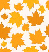 Autumnal maple leaves, seamless background - vector Stock Illustration