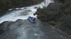 Rafting boat on whitewater, Waterfall Strbacki Buk, Bosnia and Herzegovina, Stock Footage