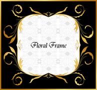 golden floral frame - stock illustration