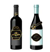 Illustration of set wine bottle with label Stock Illustration