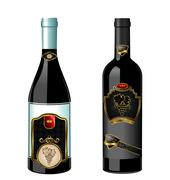 Illustration of set wine bottle with label Stock Illustration