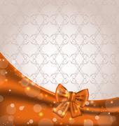 cute brown backdrop with ribbon bow - stock illustration