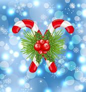 christmas sweet canes with holly berry - stock illustration