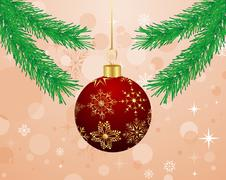 Christmas background with branch and ball Stock Illustration