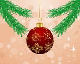 Stock Illustration of christmas background with branch and ball
