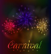 Stock Illustration of colorful fireworks background for carnival party