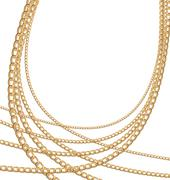 set jewelry gold chains different size - stock illustration