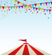 Circus striped tent with flags Stock Illustration