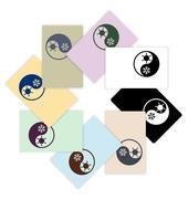 Symbol of climate balance in shape yin-yang as firm style on cards design Stock Illustration
