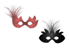 realistic illustration of carnival masks - stock illustration