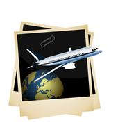 illustration a conceptual composition - of the plane taking off from planet s - stock illustration