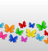 set cut out colorful butterfly, grey paper - stock illustration