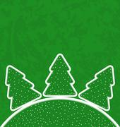 Green paper cut-out set christmas tree Stock Illustration