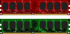two ddrii modules red and green - stock illustration