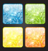 set four seasonal icon with floral colorful background - stock illustration