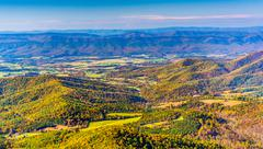 autumn view of the shenandoah valley, from skyline drive in shenandoah nation - stock photo