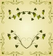 illustration the grape twig ornate - stock illustration