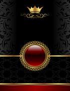golden vintage frame with floral medallion - stock illustration