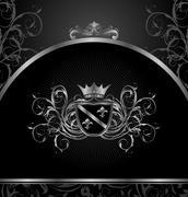 luxury vintage aluminium frame template - stock illustration