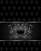 illustration luxury vintage titanium frame template - stock illustration