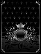 aluminum background with ornamental medallion, design elements - stock illustration