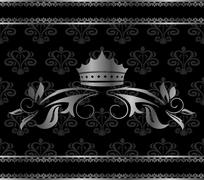 Luxury vintage aluminum frame template with crown Stock Illustration