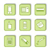 Green sticker with icon  Stock Illustration