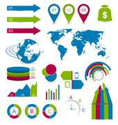 set infographic elements for design web site layout - stock illustration