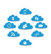 cloud computing and technology, infographic design elements - stock illustration