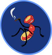 Smoking a cigar an insect sitting Stock Illustration