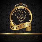 golden label for packing wine - stock illustration