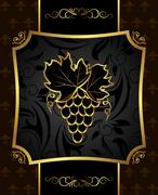 golden frame with grapevine - stock illustration