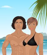 young couple on the beach - stock illustration