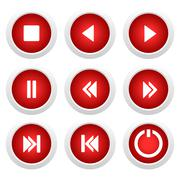 Music red buttons set Stock Illustration