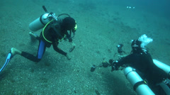 Scuba diver showing another diver his photo Stock Footage
