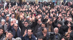 Iran, public prayer session, outside, crowd, Ashura, Middle East Stock Footage