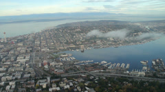 South Lake Union and Space Needle Aerial View in Seattle Stock Footage