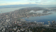 Stock Video Footage of South Lake Union and Space Needle Aerial View in Seattle
